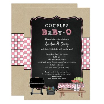 Couples Baby Q, girl BBQ baby shower Card