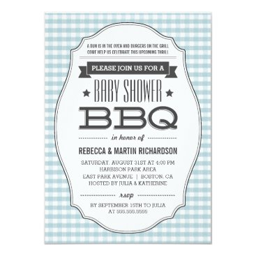 Couples BBQ Boy Baby Shower Invitations