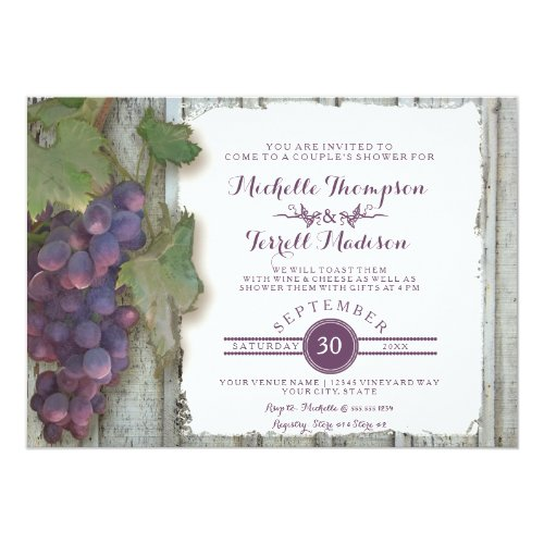 Couples Bridal Shower Vineyard Wine Grapes Theme Invitation