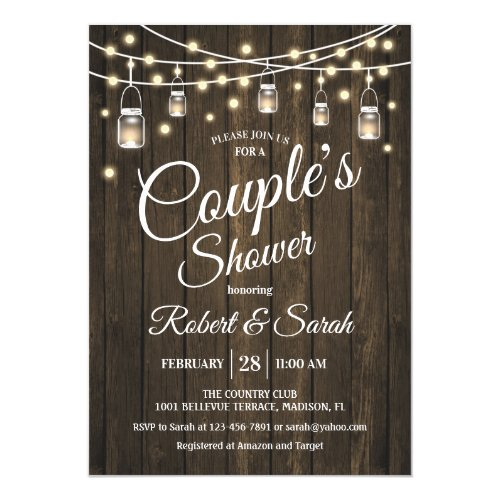 Couple's Shower - Rustic Wood Invitation