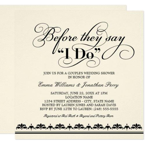 Couple's Wedding Shower Invitation   Wedding Vows