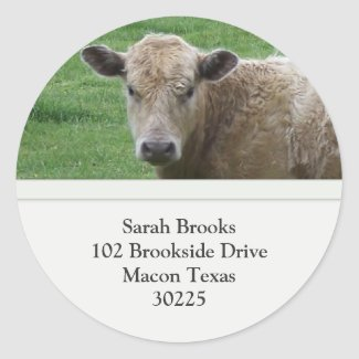 Cow Address Label Round Stickers