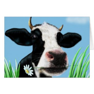 Cow with a daisy greeting card