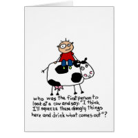 Cow with Dangly Things - Birthday Card