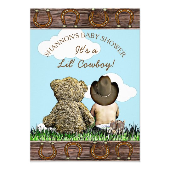 Cowboy Baby And Teddy Bear Shower Invitation