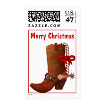 Cowboy Boot with Candy Cane Christmas Stamp