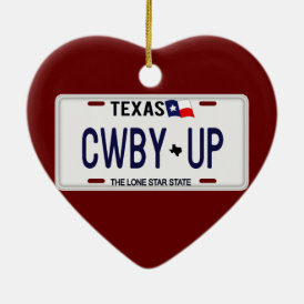 Cowboy Up!  CWBY UP Texas License Plate Ceramic Ornament