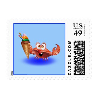 Crab Cartoon with Ice Cream stamp postage
