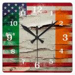 Crackle Paint | Irish American Flag Square Wallclocks