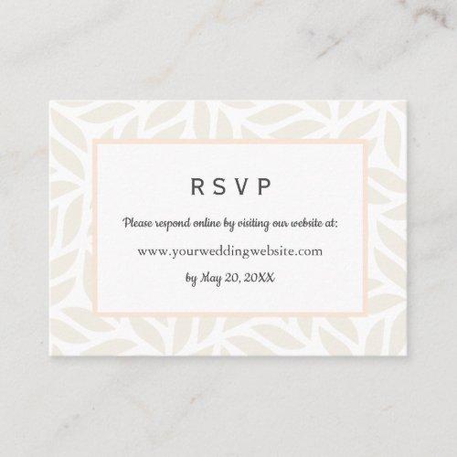 Cream abstract foliage Wedding RSVP Online Website Business Card