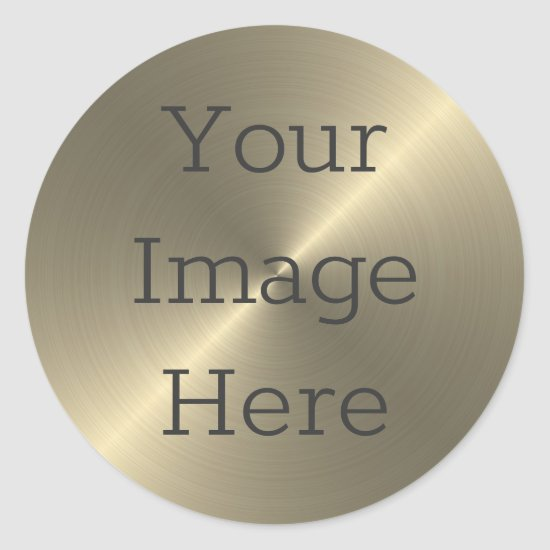 Create Your Own Antique Brass Brushed Metallic Classic Round Sticker