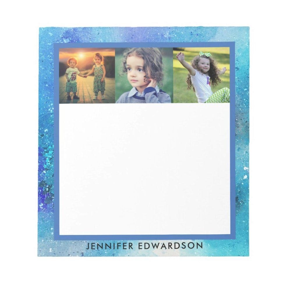 Create your own family photo collage watercolor notepad