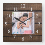 Create Your Own Photo Brown Wood Square Wall Clock