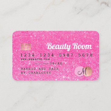Credit card neon pink glitter beauty monogram