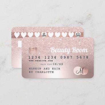 Credit card rose gold metallic glitter loyalty
