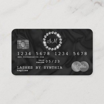 Credit Card Style Silver Diamond monogram