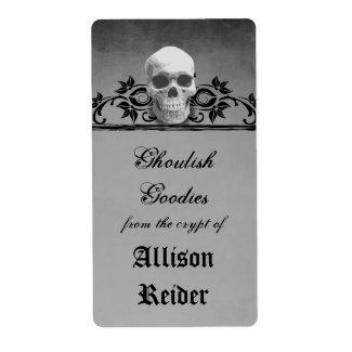 Creepy Skull Halloween Kitchen label