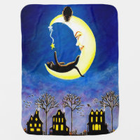 Crescent moon with black cats baby blanket