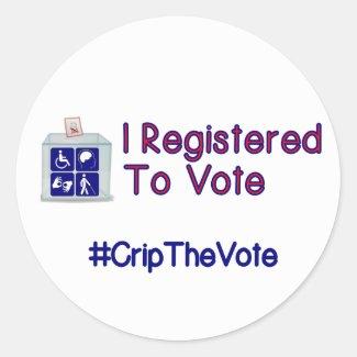 #CripTheVote I REGISTERED stickers (round) small