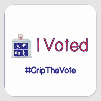 #CripTheVote I VOTED stickers (square) small