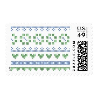 Cross Stitch Sampler Themed Postage Stamp
