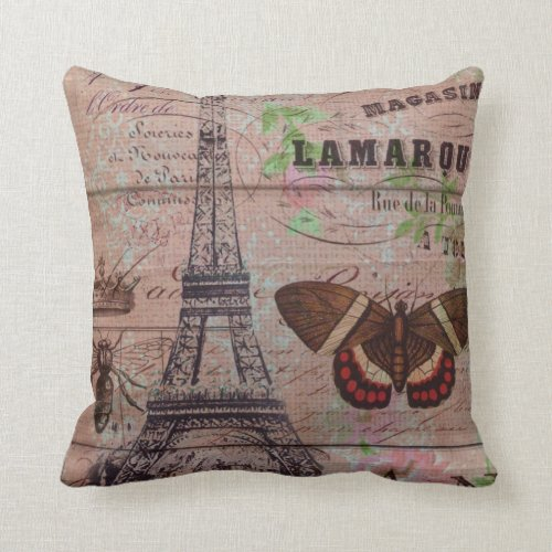 crown french bee butterfly Paris Eiffel Tower Throw Pillow