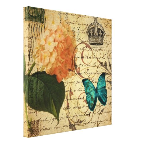 crown French botanical art butterfly hydrangea Canvas Print