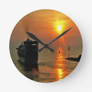 Cruise ship leaving Puerto Vallarta Wall Clocks