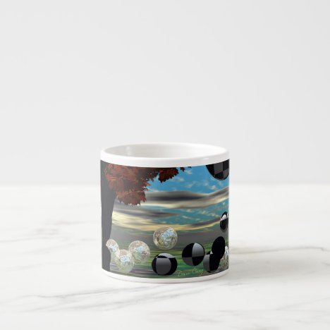 Crystal Garden, Abstract Green Gold Light Espresso Cup