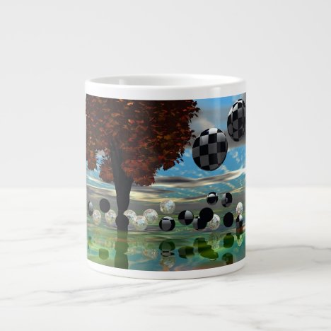 Crystal Garden, Abstract Green Gold Light Large Coffee Mug