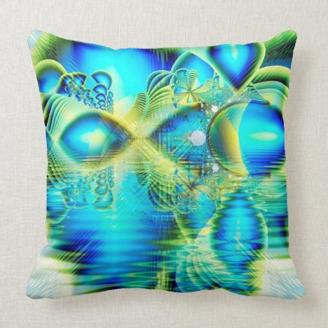 Crystal Lime Turquoise Heart of Love, Abstract Throw Pillow