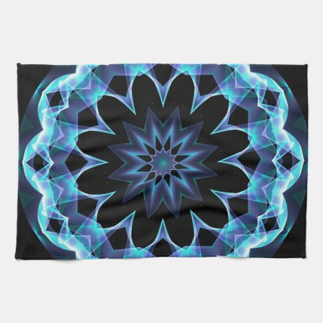 Crystal Star, Abstract Glowing Blue Mandala Kitchen Towel