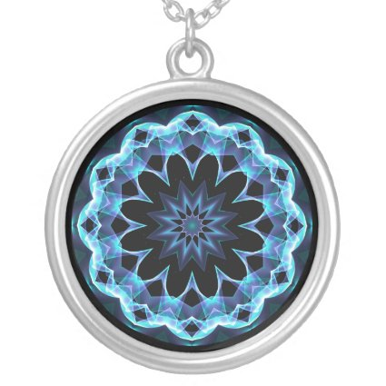 Crystal Star, Abstract Glowing Blue Mandala Custom Jewelry