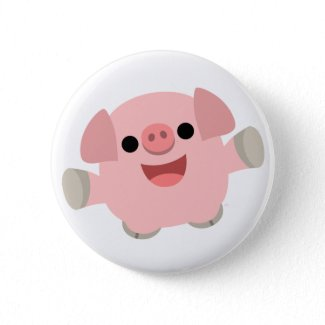 Cuddly Cartoon Pig Button Badge button