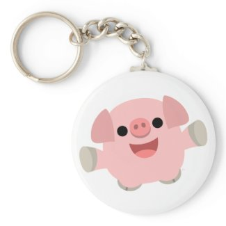 Cuddly Cartoon Pig keychain keychain