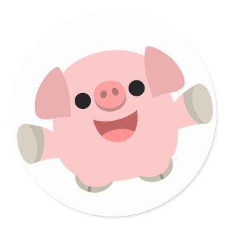 Cuddly Cartoon Pig Sticker sticker