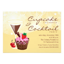 Cupcake Exchange & Cocktail Party Invitation-cream