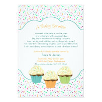 Cupcake Sprinkle Baby Shower Invite neutral colors