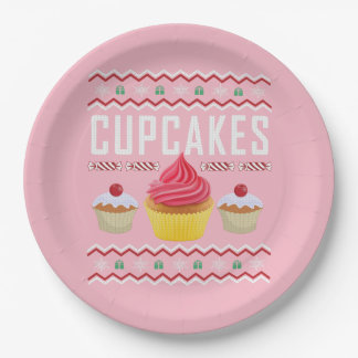 Cupcakes Ugly Christmas Sweater Paper Plate