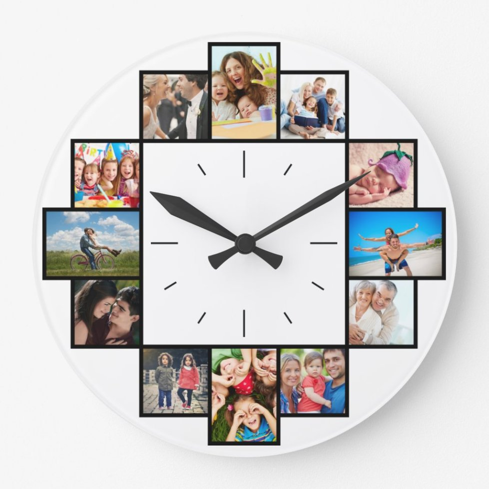 Custom 12 Instagram Family Photo Collage Large Clock