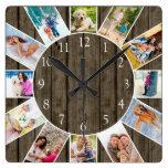 Custom 12 Photo Collage Rustic Dark Wood Square Wall Clock