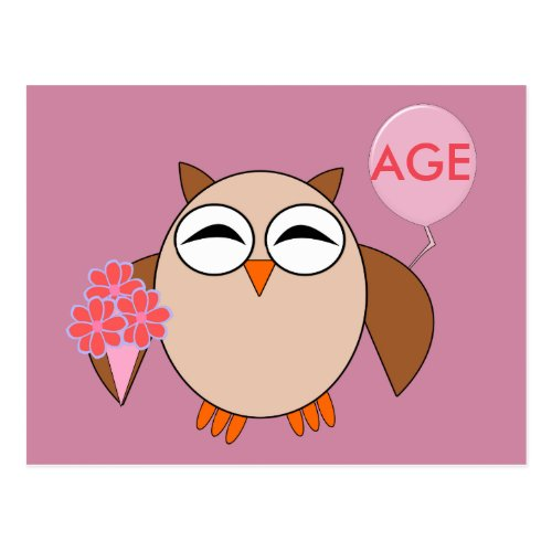 Custom Age Birthday Owl Postcard