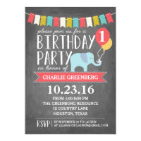 Custom Age Elephant Birthday Party | Birthday Card