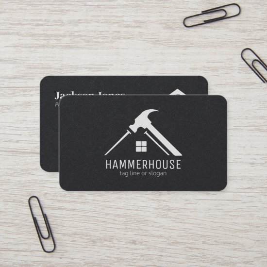 Custom Black on White Home Building Construction Business Card
