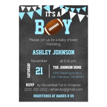 Custom Boy Chalkboard Football Theme Baby Shower Invitation