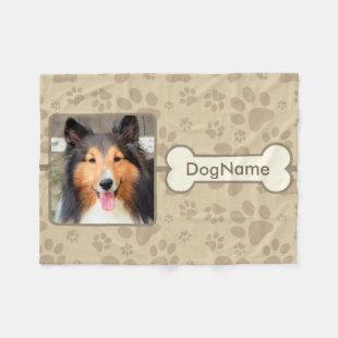 Custom Brown Paw Prints For Dogs Fleece Blanket