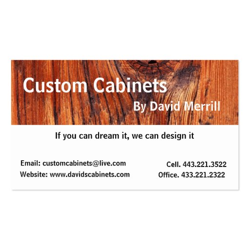 Custom Cabinets and Woodworking Business Card | Zazzle
