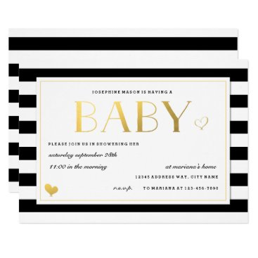 Custom Color Stripe Baby Shower in Black & Gold Card