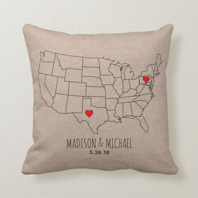 custom couple usa state map names date heart map throw pillow zazzle com