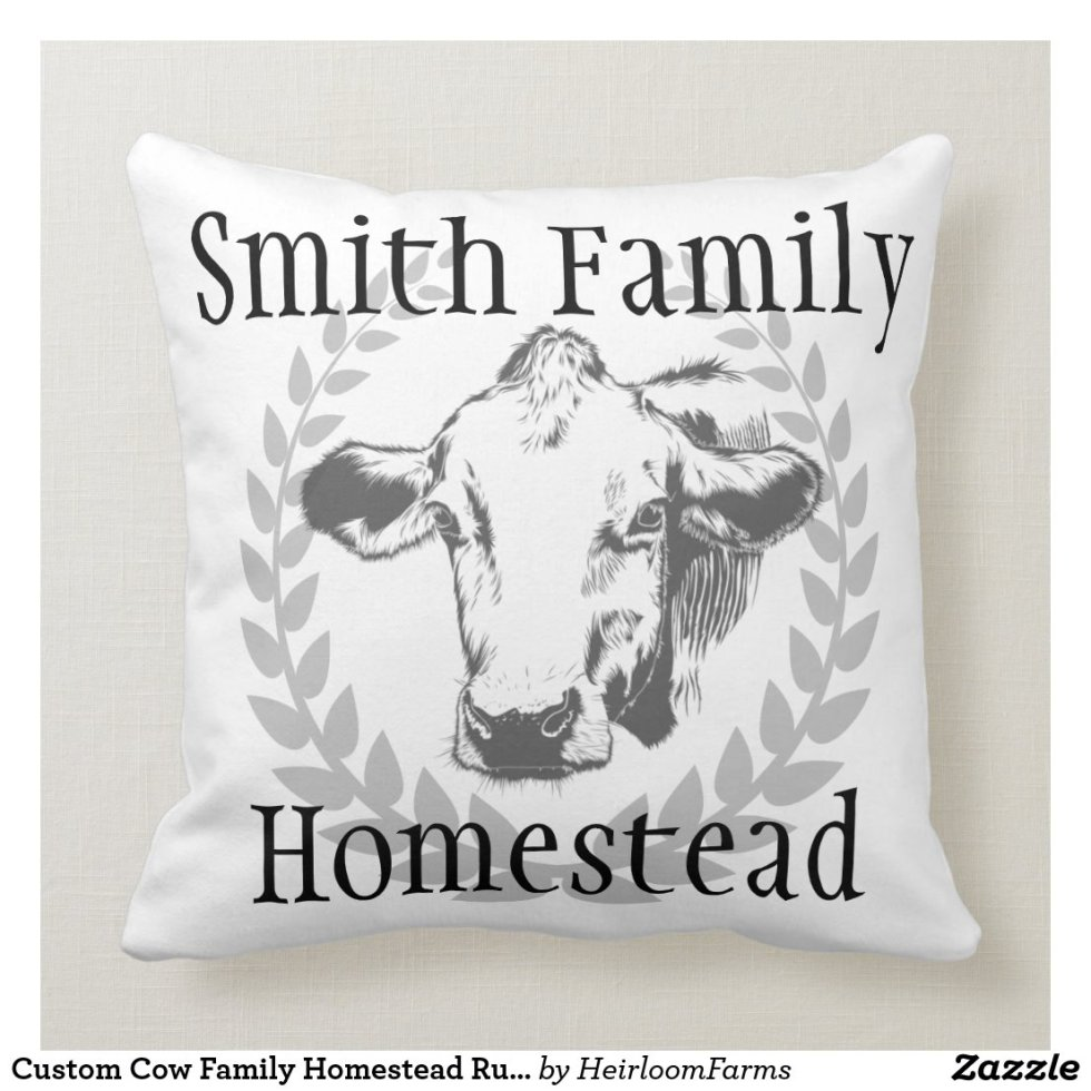 Custom Cow Family Homestead Rustic Throw Pillow